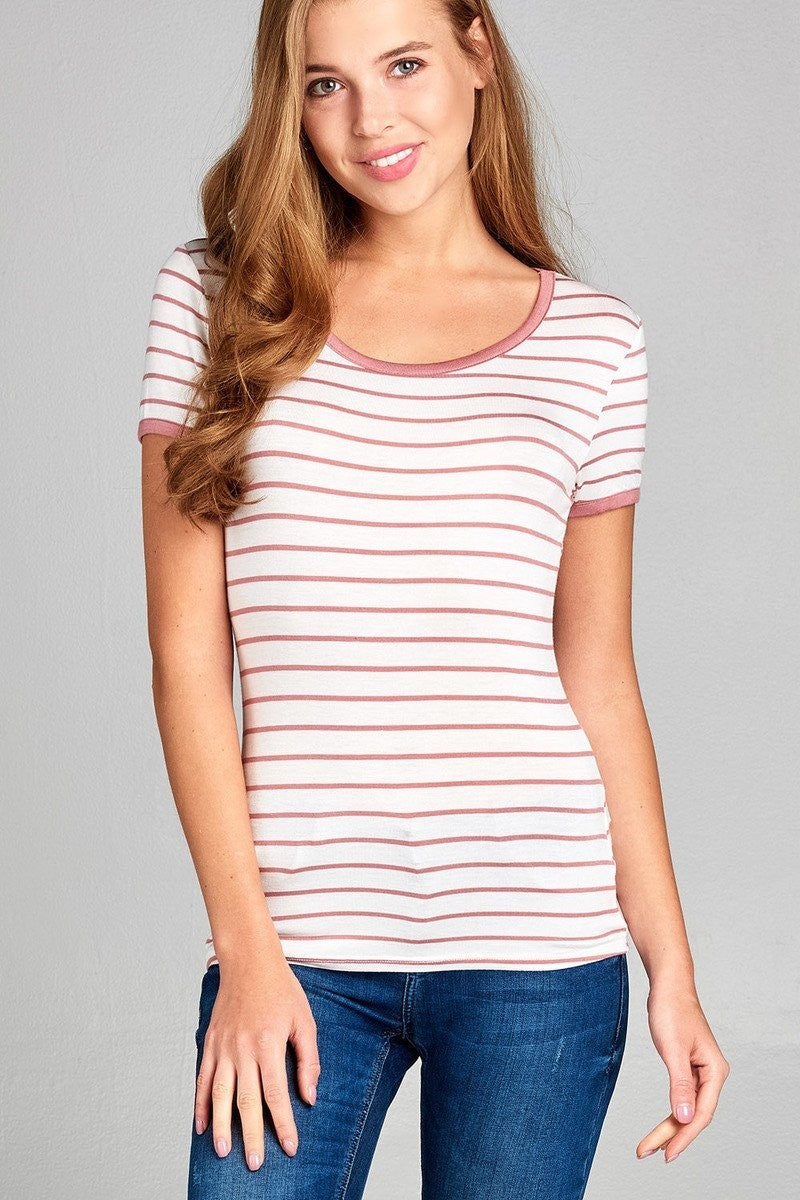 Yarn Dyed Striped Jersey Top - Pink