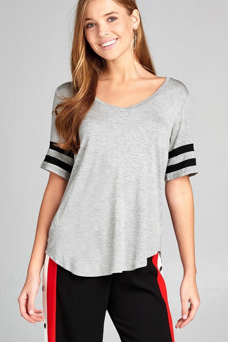 Short Sleeve Double Stripe V-Neck Top - Grey - FashCity