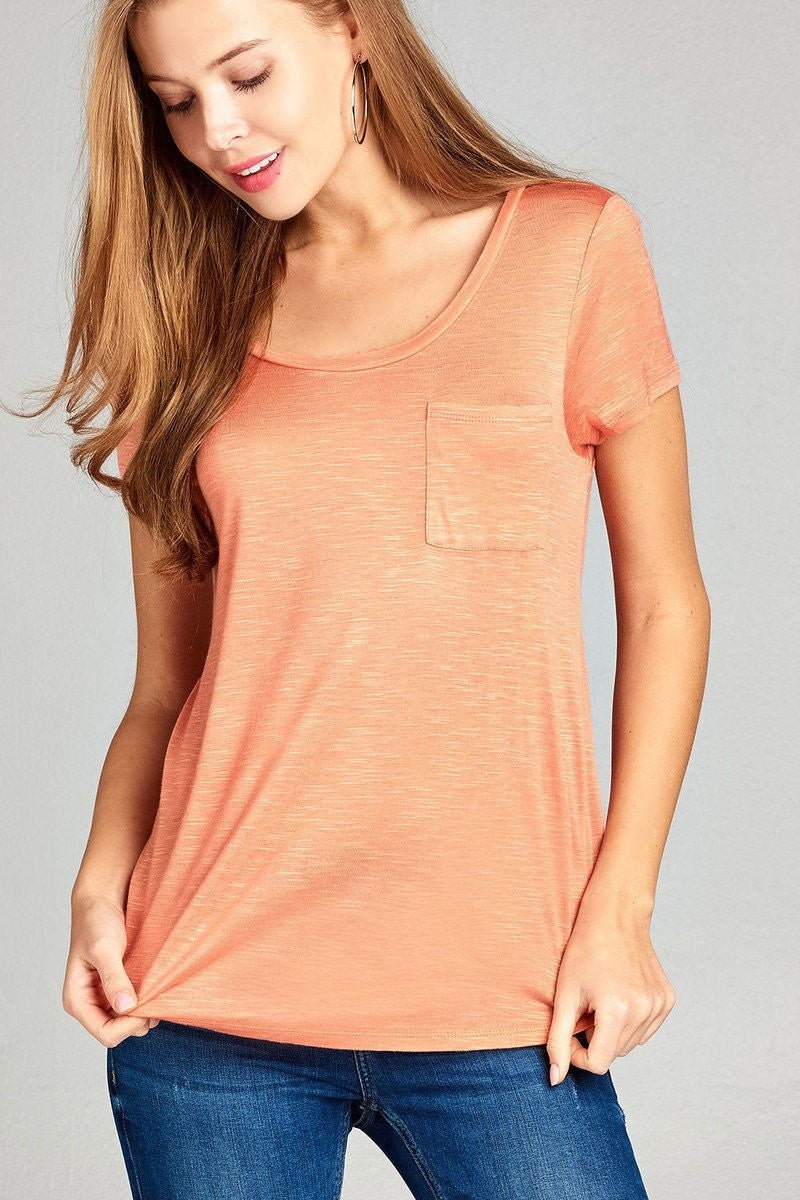 Short Sleeve Slub Top w/ Pocket - Salmon