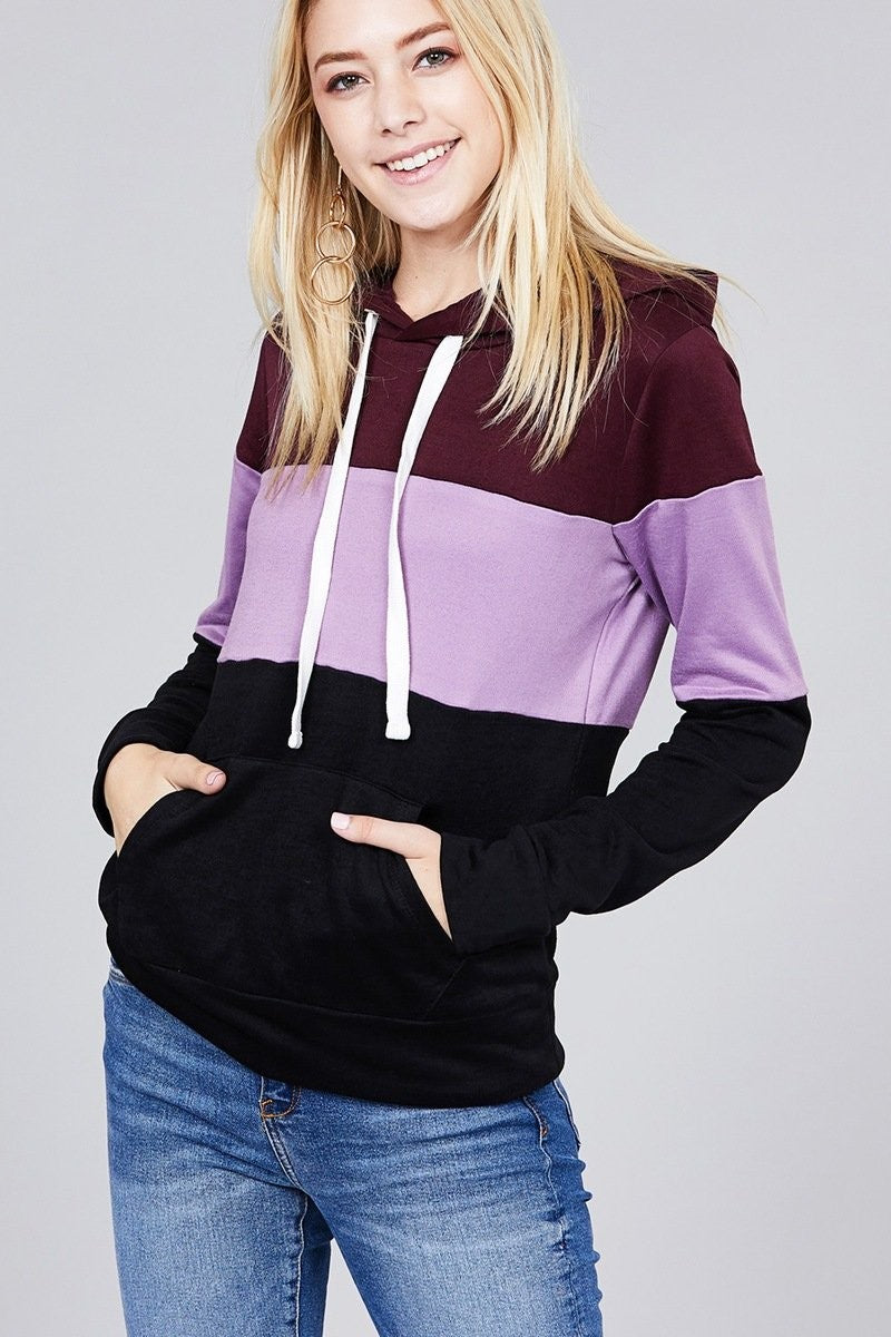 Color Block French Terry Hoodie - FashCity
