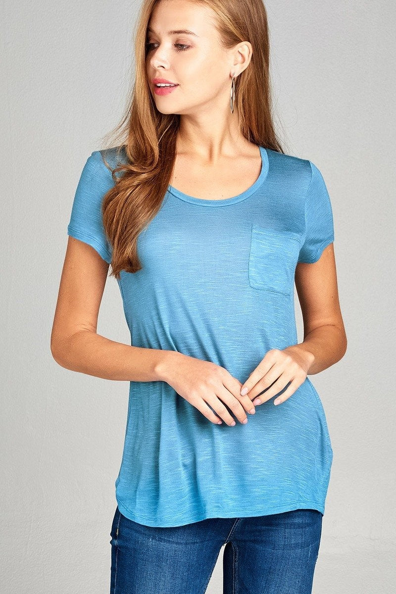 Short Sleeve Slub Top w/ Pocket - Horizon Blue