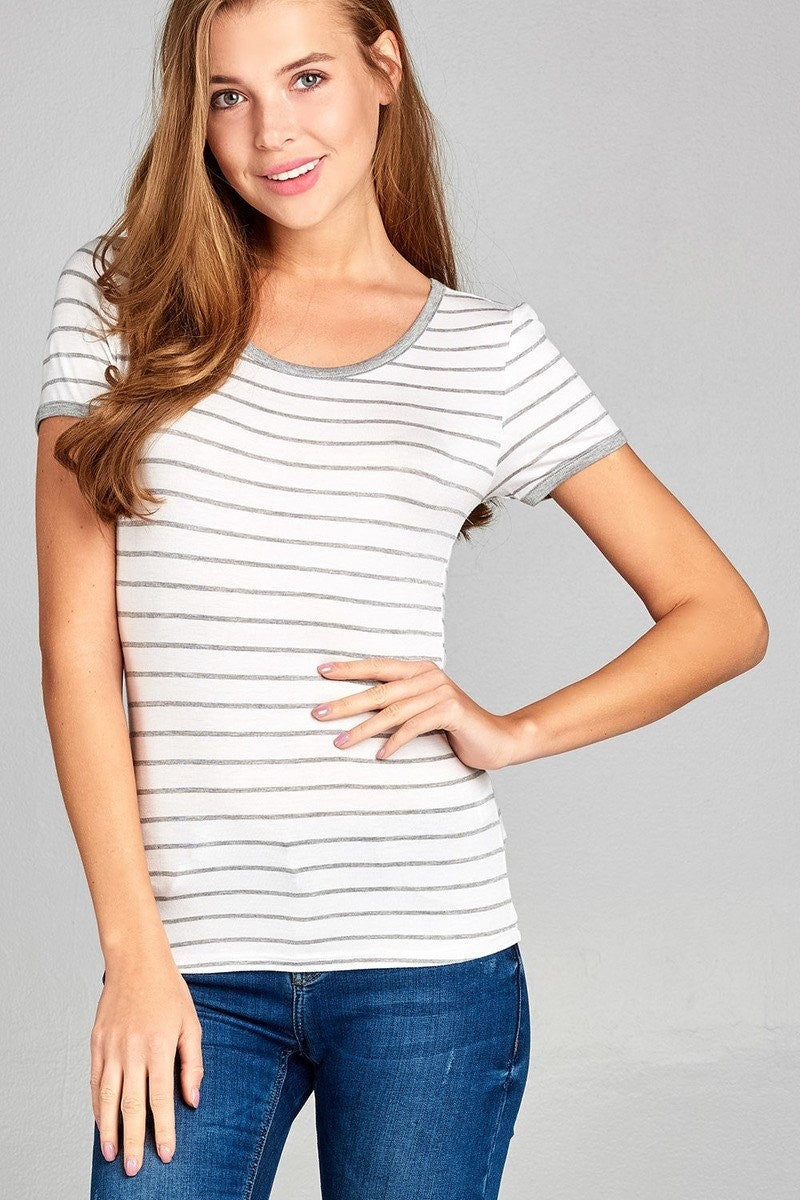 Yarn Dyed Striped Jersey Top - Grey