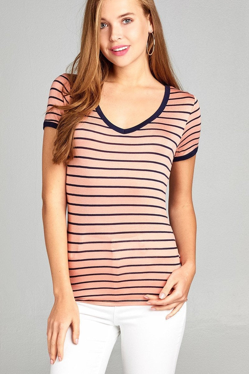 Yarn Dyed Striped Top - Apricot