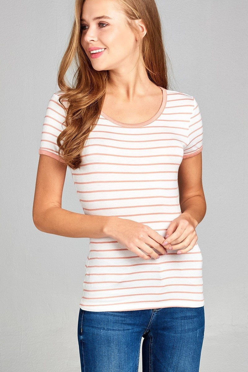 Yarn Dyed Striped Jersey Top - Apricot - FashCity