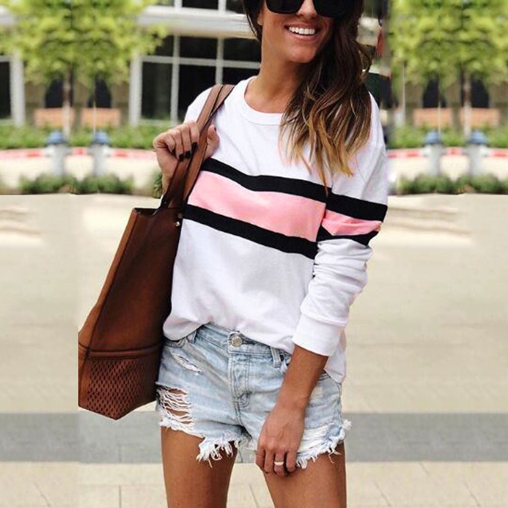 Women's Long Sleeve Patchwork Pullover Stripe Print Sweatshirt Blouse Top - FashCity
