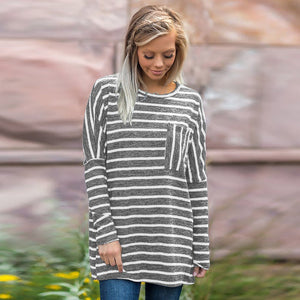 Women Long Sleeve Stripe Sweatshirt Pullover Tops Blouse Shirt - FashCity