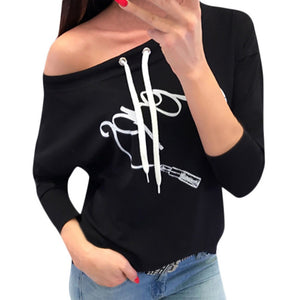 Women Casual Printing Long Sleeve Pullover Blouse Shirts Sweatshirt - FashCity