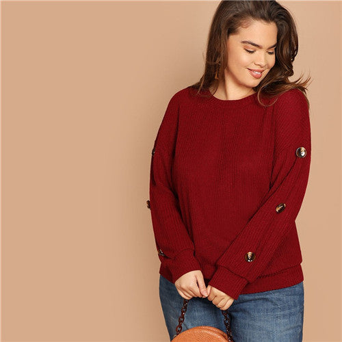 SHEIN Plus Size Burgundy Drop-Shoulder Long Sleeve Button Detail Rib Knit Women Casual Sweatshirts Autumn Winter Pullovers - FashCity