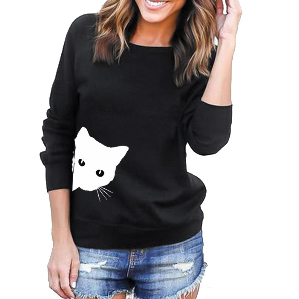 Womens Long Sleeve Cat Print Sweatshirt  Pullover Tops Blouse Tunic - FashCity