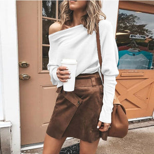 Women Sexy Solid Casual Off Shoulder Long Sleeve Strapless Sweatshirt Top Blouse - FashCity