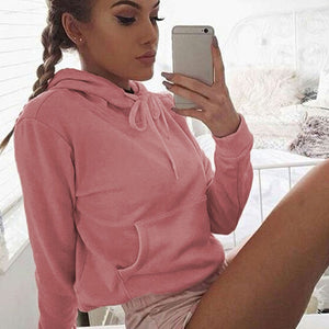 Women Pockets Long Sleeve Hoodie Sweatshirt Hooded Pullover Tops Blouse