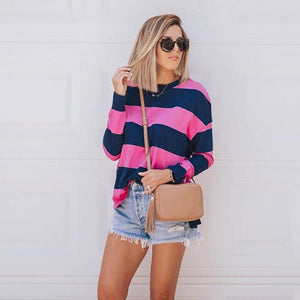 Women's Long Sleeve Patchwork Pullover Stripe Print Sweatshirt Blouse Top