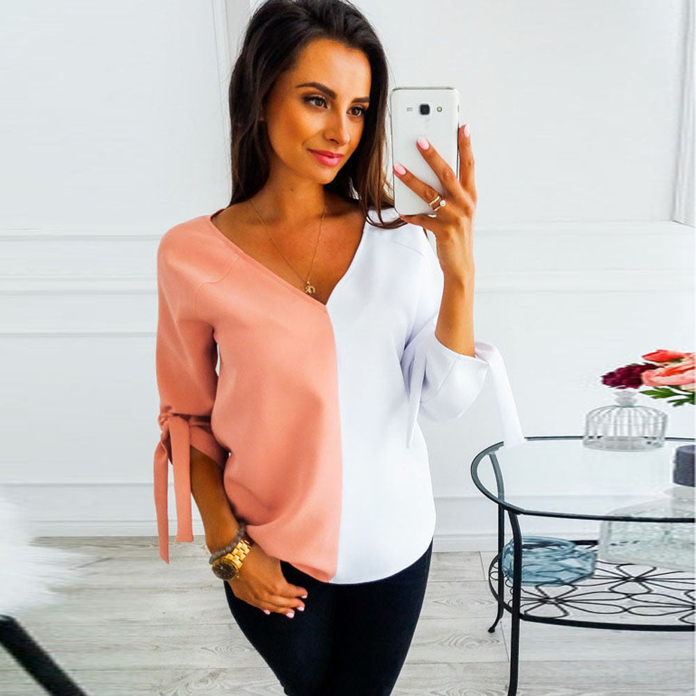 Womens Patchwork Colorsr V-Neck Half Sleeve Sweatshirt Pullover Tops Blouse
