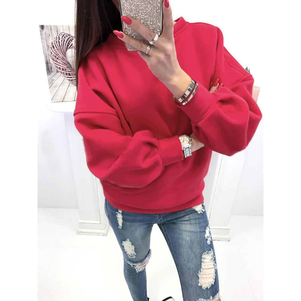 Women Casual Solid Long Sleeve Pullover Blouse Shirts Sweatshirt - FashCity
