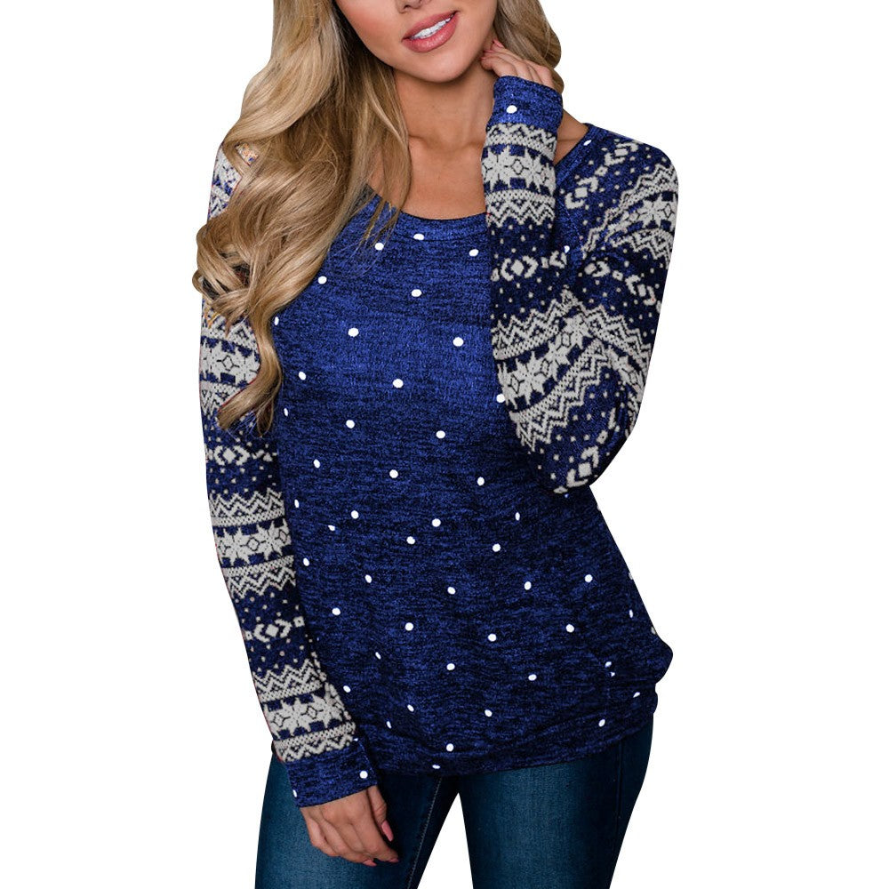 Christmas Women Long Sleeve Snowflake Sweatshirt Pullover Tops Blouse Shirt
