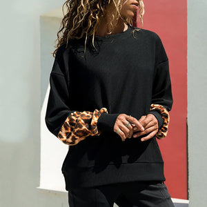 Women's Leopard Print Long Sleeve Pullover Blouse Shirts Sweatshirt - FashCity