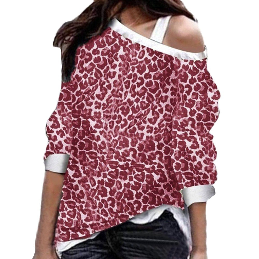 Womens Leopard Long Sleeve Pullover Sweatshirts Loose Fit Tops Blouses - FashCity