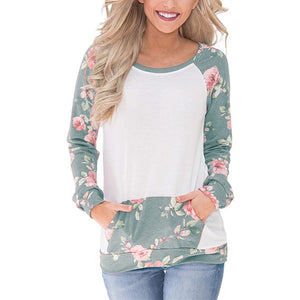 Women Long Sleeve Floral Print Sweatshirt Casual T Shirt Pocket Blouses Tops - FashCity