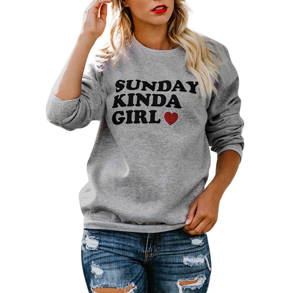 Blouse Casual Womens Long Sleeve O-Neck Letter Print Pullover Sweatshirt Tops