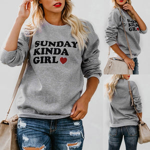 Blouse Casual Womens Long Sleeve O-Neck Letter Print Pullover Sweatshirt Tops - FashCity