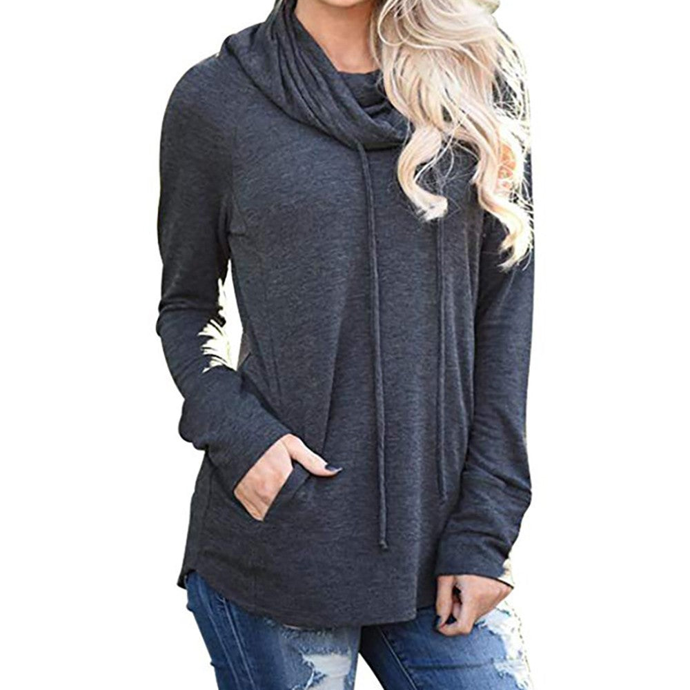 Womens Long Sleeve Cowl Neck Casual Sweatshirt Tops with Pockets - FashCity