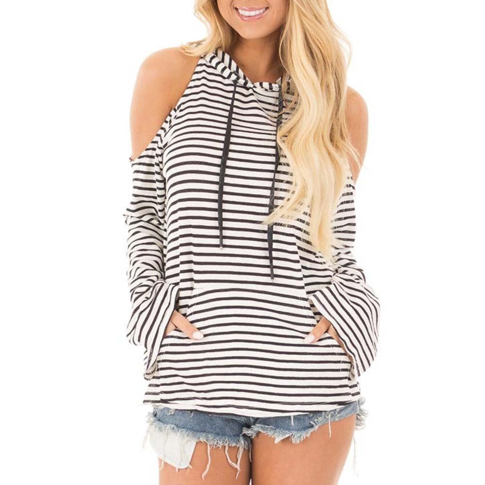 Womens  Long Sleeve Striped Cold Shoulder Patchwork  Sweatshirt Casual  Blouse - FashCity