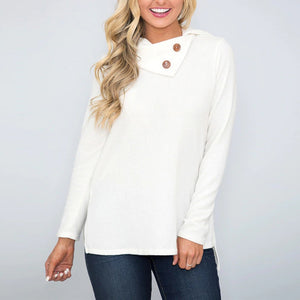 Fashion Women Skew Collar Solid Botton Long Sleeve Sweatshirt Pullover Blouse - FashCity