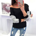 Womens Lace O-Neck Long Sleeve Sweatshirt Pullover Tops Blouse - FashCity