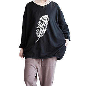 Women Autumn Long Sleeve Feather Printed Sweatshirt Pullover Casual Blouse Tops - FashCity