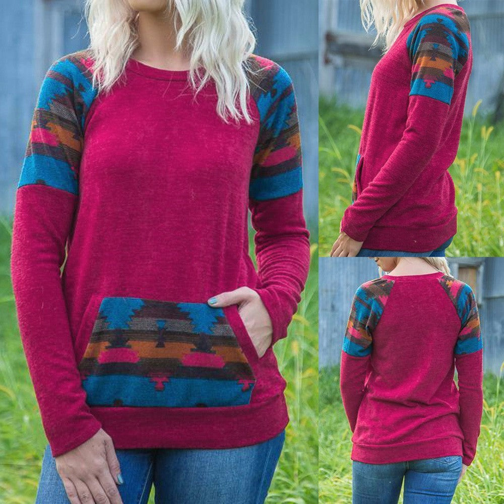 Women Geometric Print Long Sleeve Drawst Crop Pocket Sweatshirt Pullover Top - FashCity