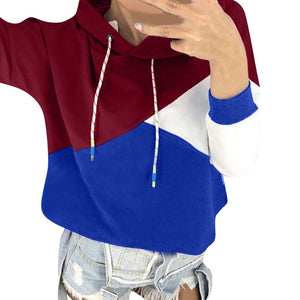 Women Autumn Long Sleeve Patchwork Hoodie Hooded Sweatshirt Pullover Tops Blouse - FashCity