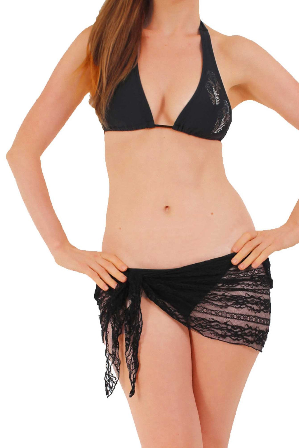 Black Gorgeous LACE Sarong Cover-up Wrap Pareo: MINI Length