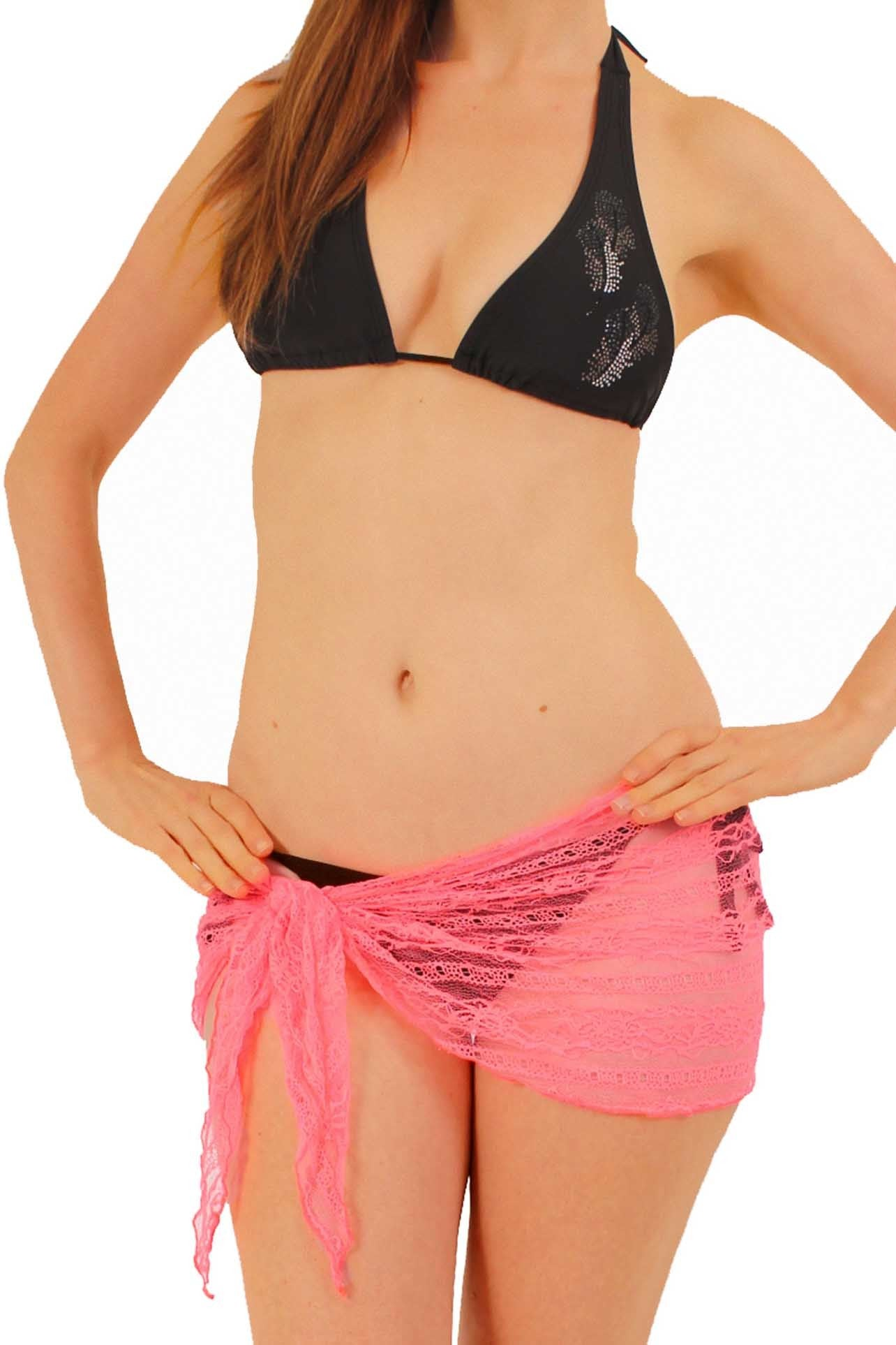 Black Gorgeous LACE Sarong Cover-up Wrap Pareo: MINI Length - FashCity