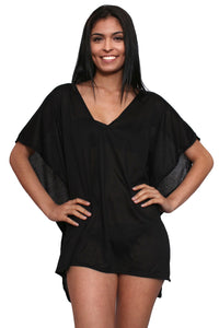Women's Gorgeous Slip Swimwear Cover-up Beach Dress: BLACK