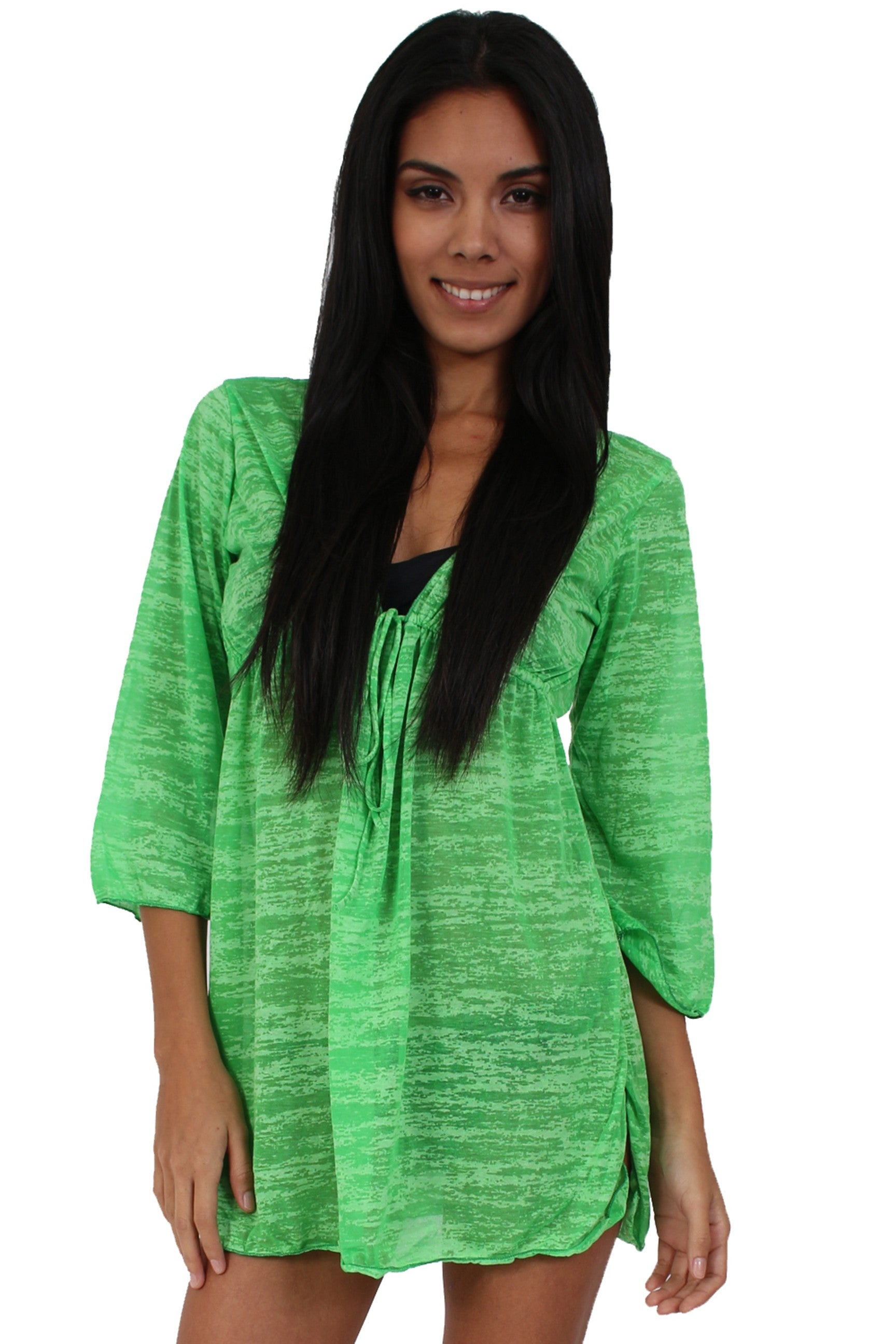 Gorgeous Burnout Swimwear Cover-up Long Sleeve Beach Dress: Lime Green - FashCity