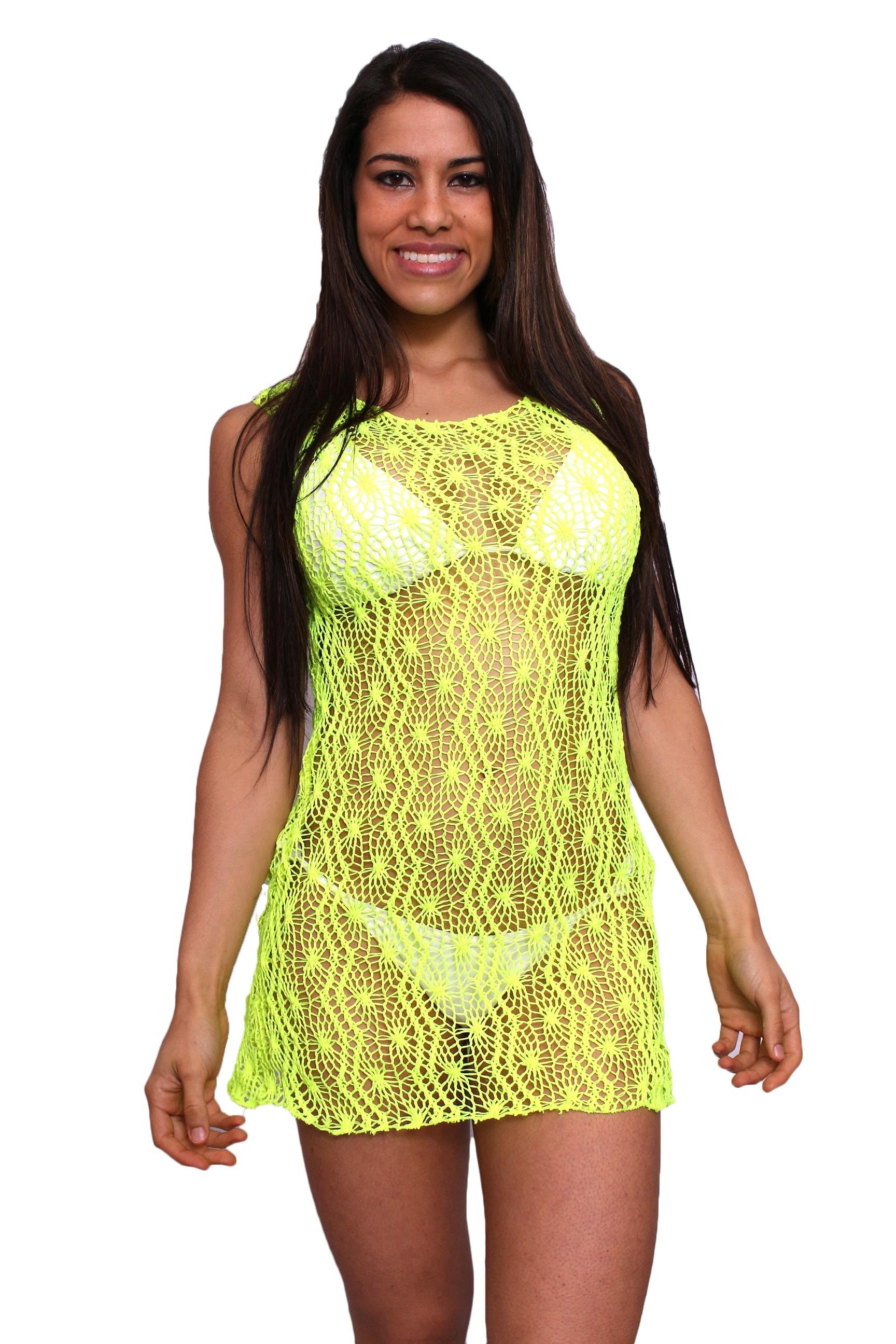 Women's Spider Tank Swimwear Cover-up Beach Dress: NEON YELLOW