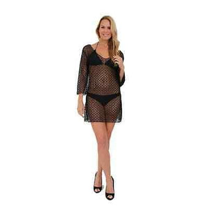 WOMEN'S JUNIORS TAUPE LONG SLEEVE SPIDER LACE COVER UP HOT DRESS BIKINI PAREO-BLACK-One Size Fits Most