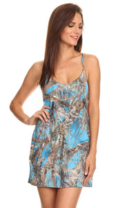 Women's Camo Cross String Beach Dress True Timber Cover Up: BLUE (L/XL)