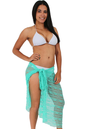 BLACK Gorgeous LACE Sarong Cover-up Wrap Pareo: LONG Length - FashCity