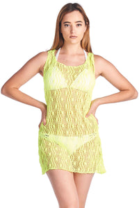 Women's Spider Tank Swimwear Cover-up Beach Dress: NEON YELLOW - FashCity