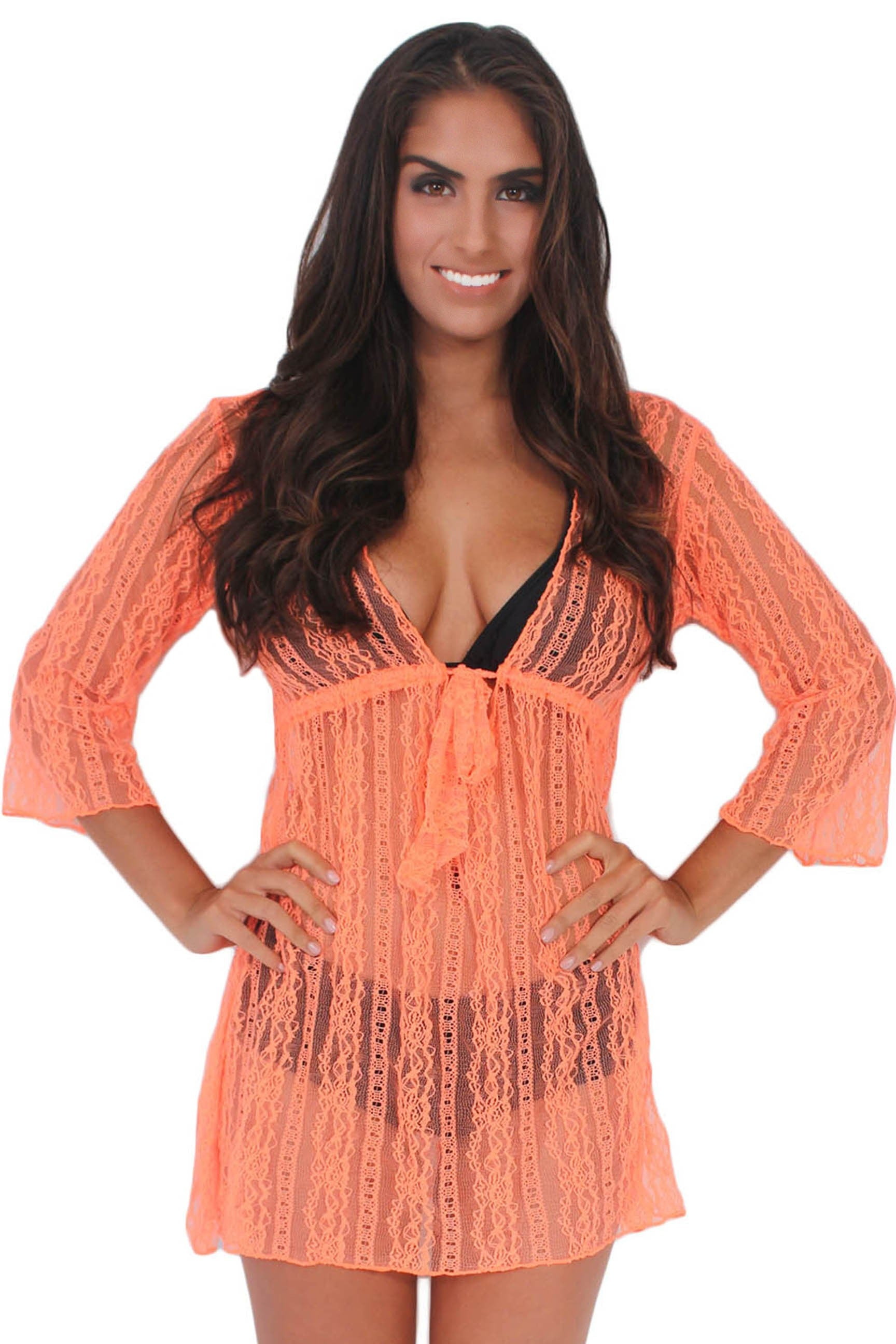 Sheer Lace Beach Dress Cover-Up-BLACK-One Size Fits Most - FashCity