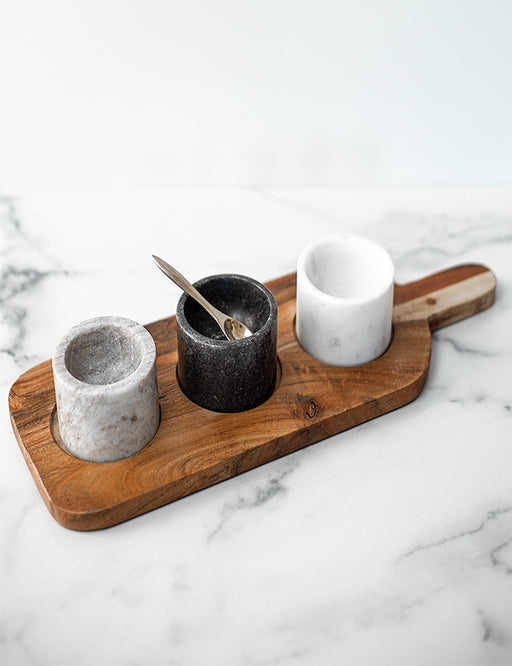 ACACIA BOARD AND PINCH POT SET