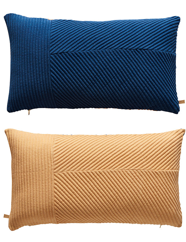 TWO TONED PILLOW - BLUE/PEACH