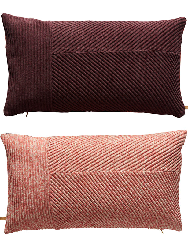 TWO TONED PILLOW - CORAL/AUBERGINE