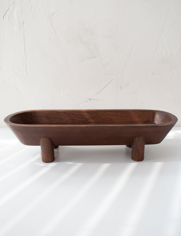 FOOTED OBLONG WALNUT BOWL