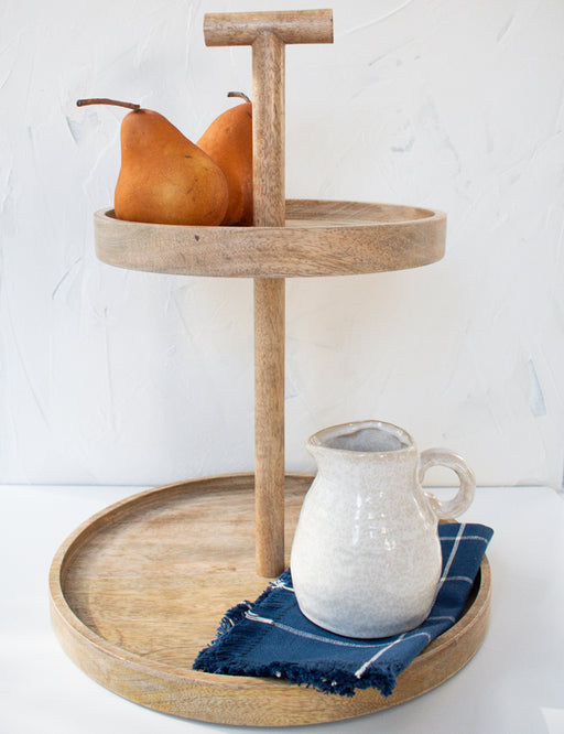 WOODEN TWO-TIER TRAY