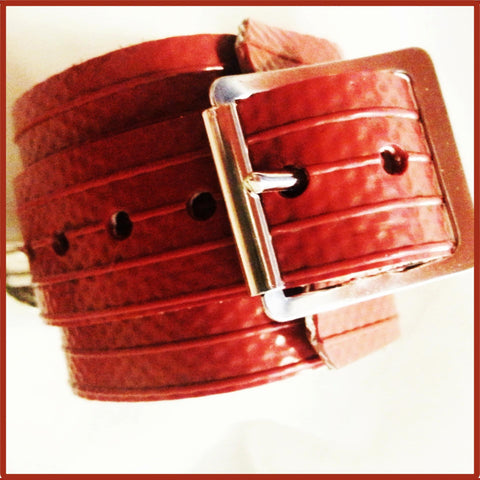 Blood Red Wrist Cuffs Made From Fire-Hose