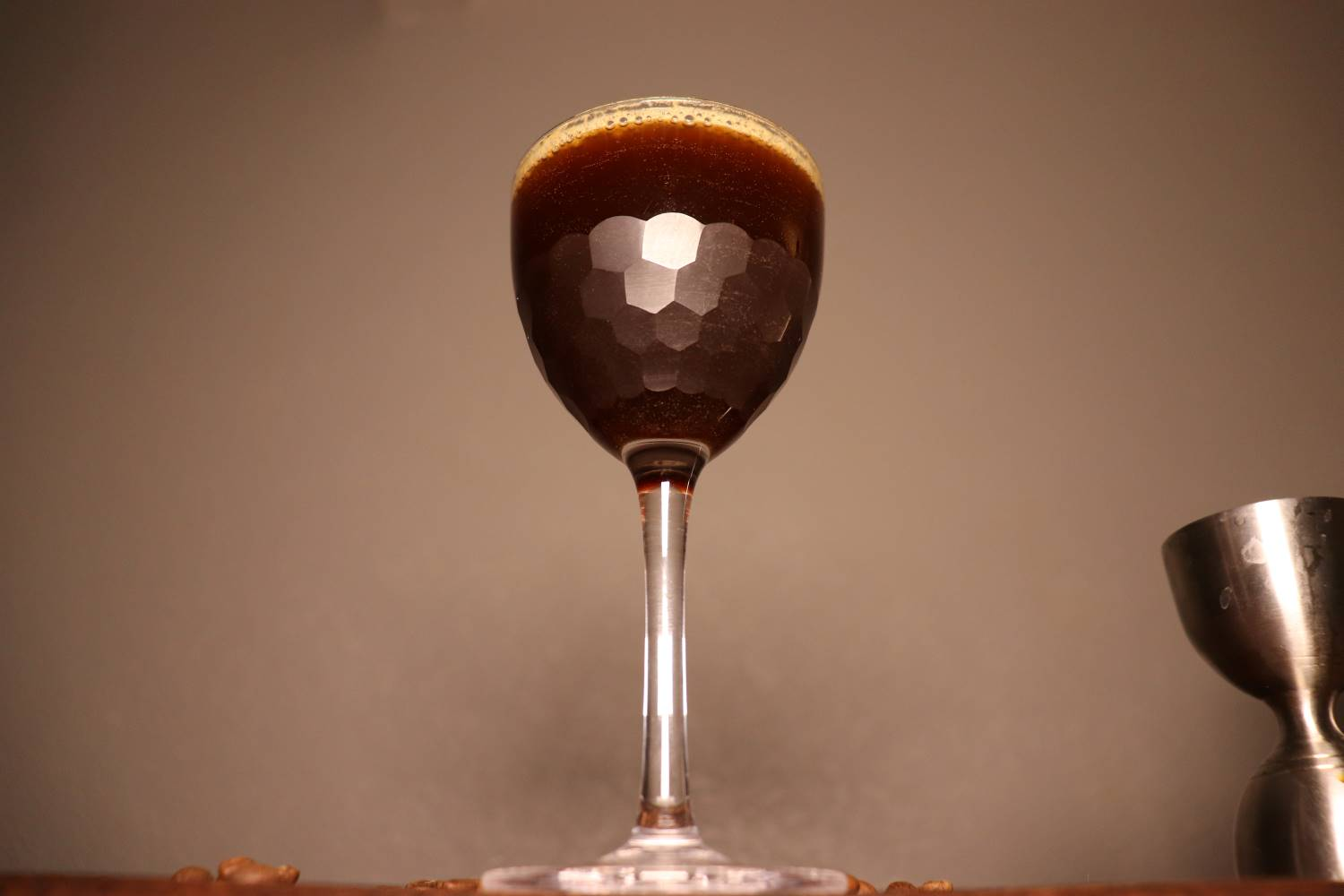Espresso Martini in an Amehla Co. Honeycomb Nick & Nora cocktail glass