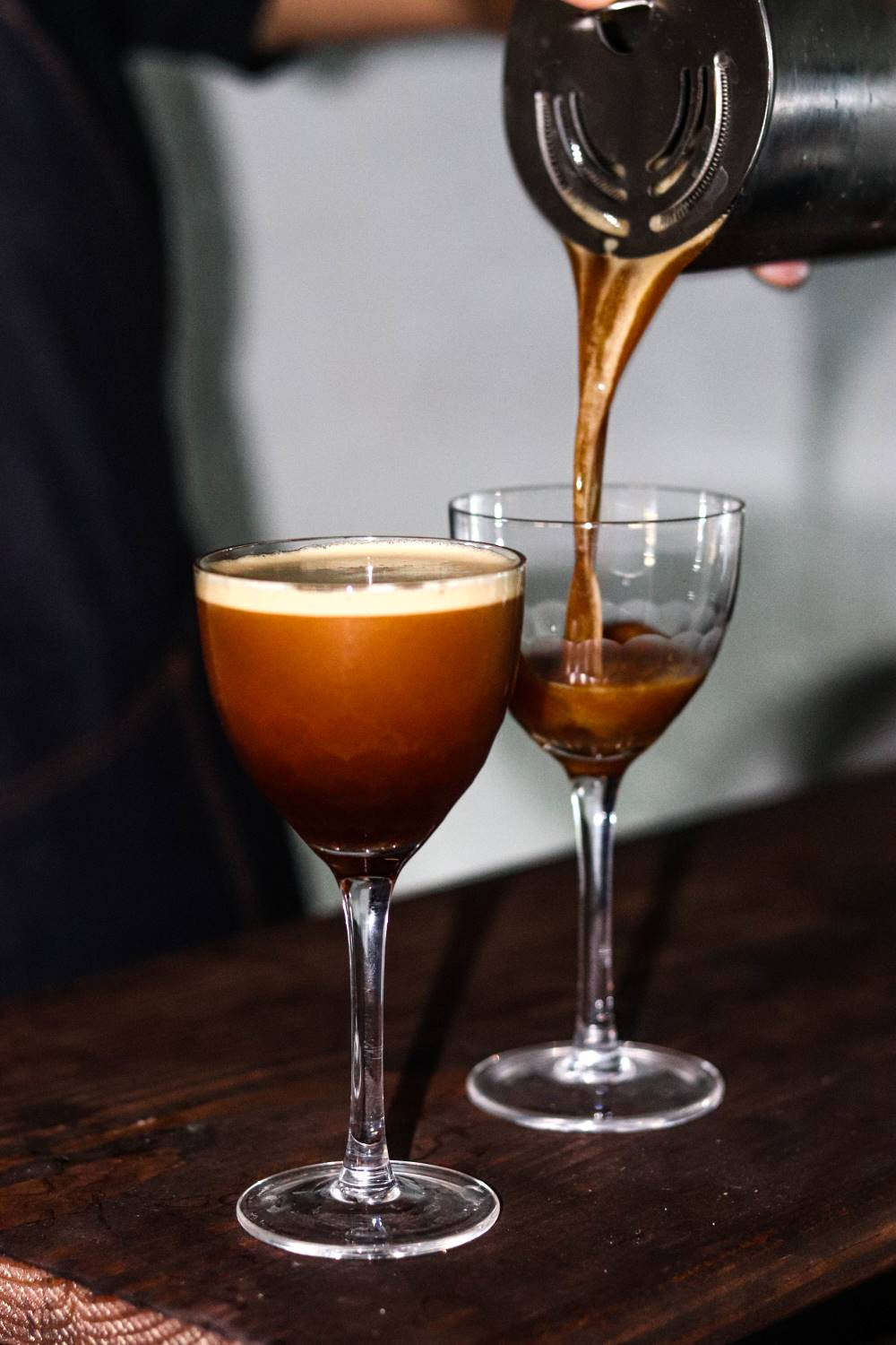 Espresso Martini being poured into an Amehla Co. Honeycomb Nick and Nora