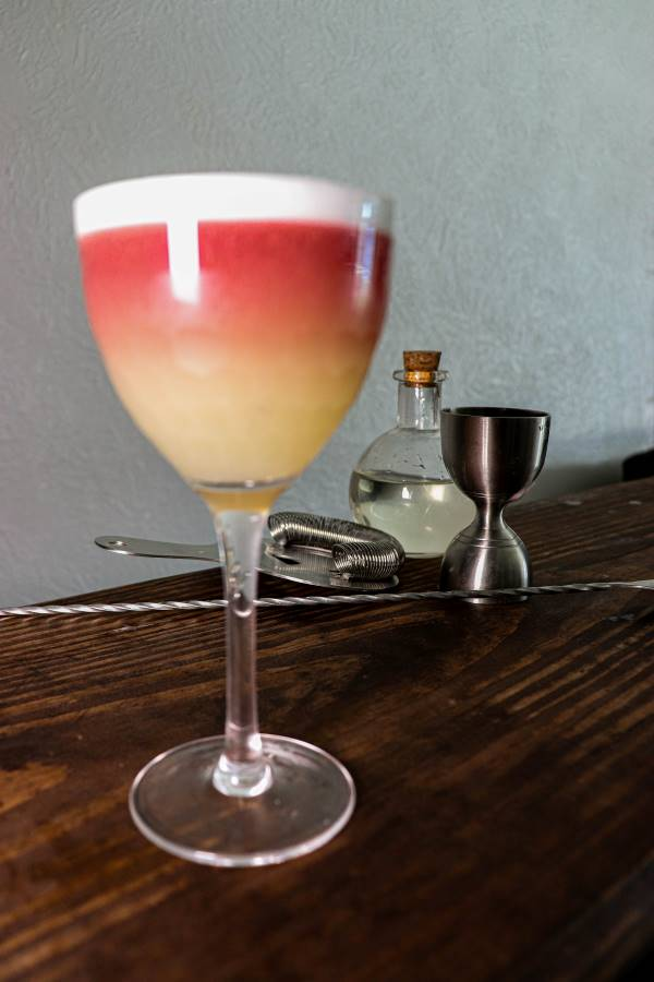 New York Sour in an amehla co. honeycomb nick and nora cocktail glass